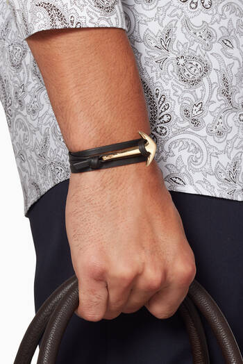 hover state of Black Leather Anchor Bracelet