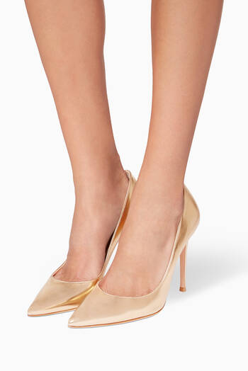 hover state of Gold Metallic-Leather Gianvito Pumps