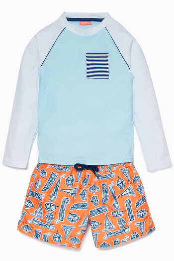 hover state of Orange Leonardo Boats Swim Shorts