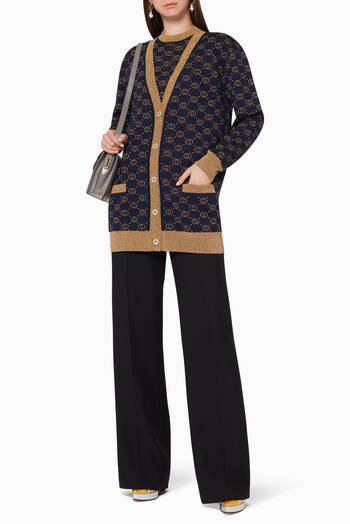 hover state of Interlocking G Lamé Wool Cardigan