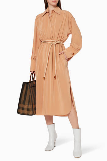 hover state of Crêpe de Chine Midi Shirt Dress