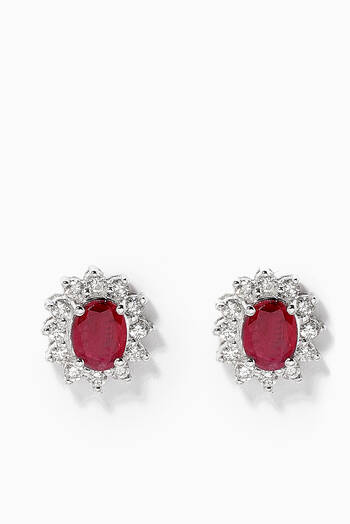 hover state of Classic Ruby Diamond Set in 18kt White Gold
