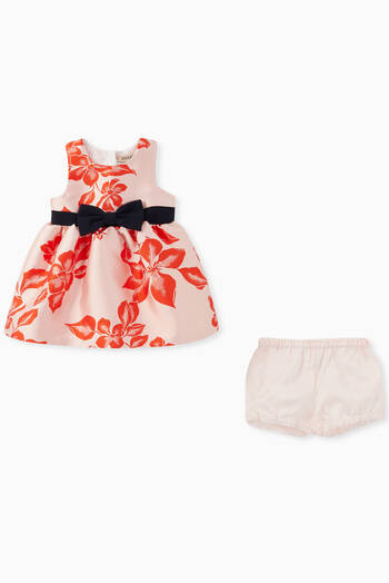 hover state of Satin Jacquard  Dress & Bloomers, Set of 2