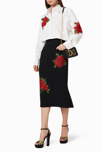 hover state of Rose Embroidered Pencil Skirt
