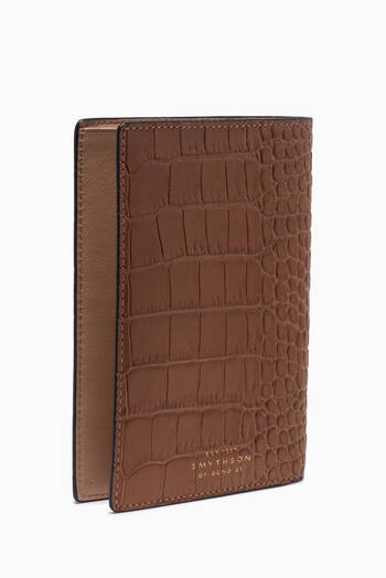hover state of Mara Passport Cover in Croc-Embossed Leather