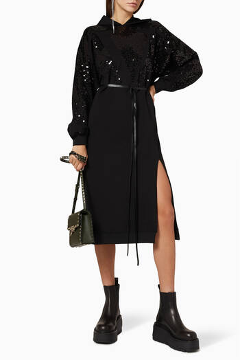 hover state of VLOGO Sequinned Jersey Hoodie Dress