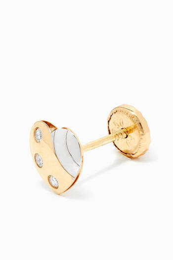 hover state of Heart Diamond Earrings in 18kt Gold