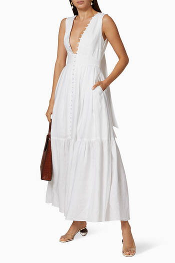 hover state of Marion Linen Maxi Dress