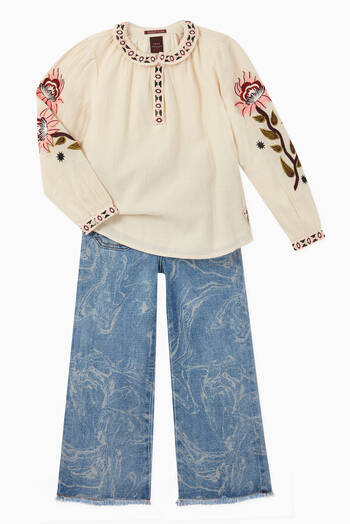hover state of Boho Embroidered Top
