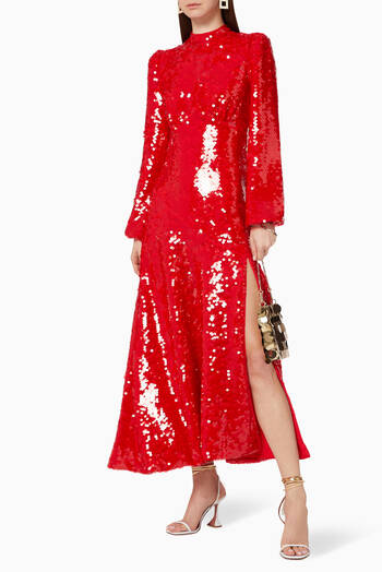 hover state of Clara Sequinned Midi Dress