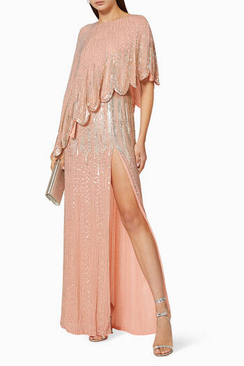 hover state of Sequin Bead Georgette Tulle Maxi Dress