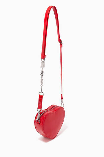 hover state of Heart Crossbody Bag in Patent Faux Leather