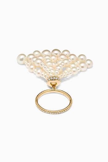 hover state of Bahar Diamond Tassel Ring with Pearls in 18kt Yellow Gold