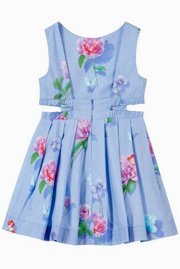 hover state of Floral Cut-Out Waist Dress in Cotton