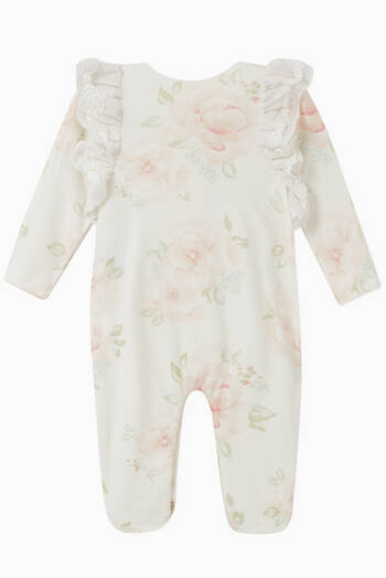 hover state of Floral Lace Trim Coverall