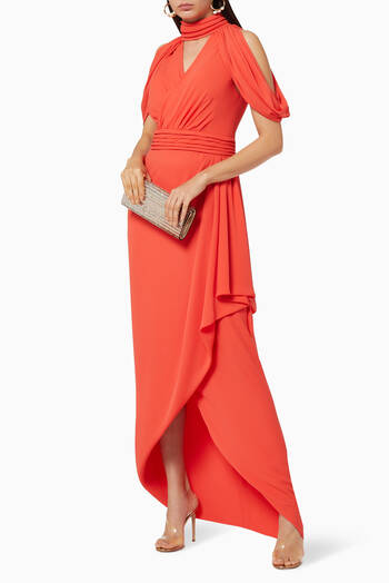 hover state of Off Shoulder Silk Chiffon Draped Dress