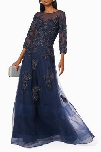 hover state of Sequin Floral Appliqué Tulle Gown
