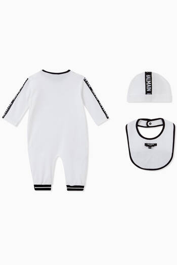 hover state of Logo Tape Romper, Hat & Bib Set in Cotton Jersey