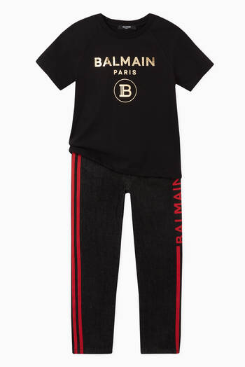 hover state of Balmain Logo Print Jersey T-Shirt