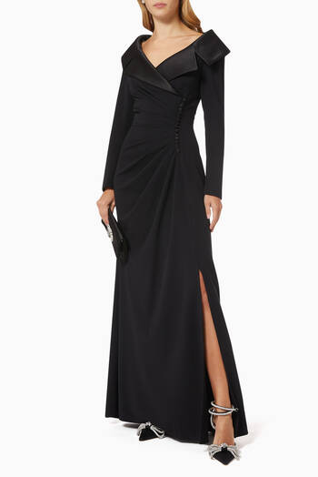 hover state of Inizio Shawl Collar Gown