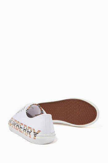 hover state of Sneakers with Icon Stripe Logo in Cotton Gabardine