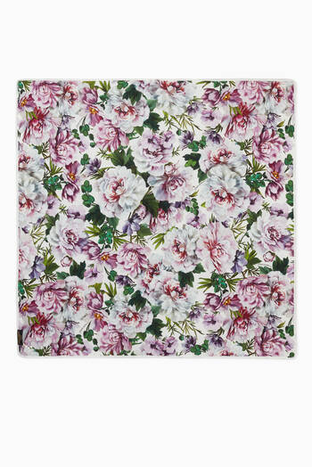 hover state of Reversible Blanket with Peony Print in Cotton Jersey