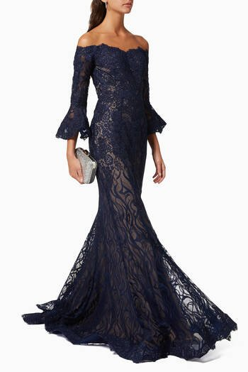 hover state of Lace Gown with Beaded Embroidery