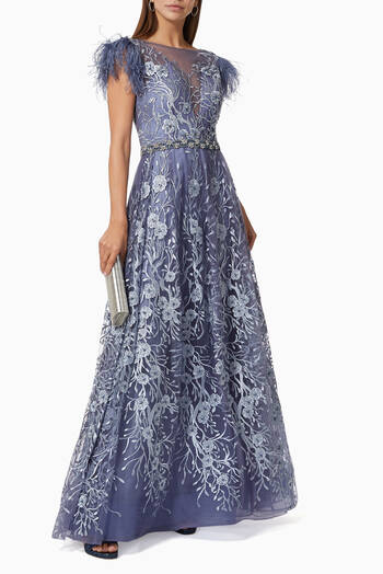 hover state of Floral & Feather Embroidered Gown