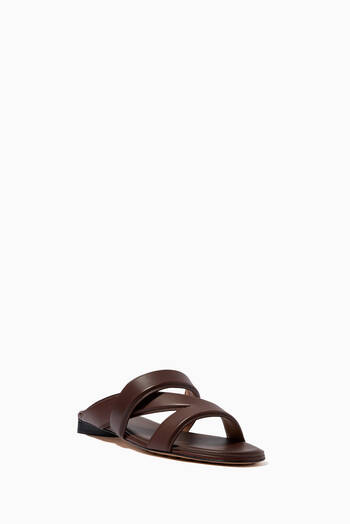 hover state of The Band Flat Sandals in Calfskin