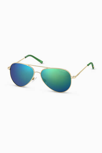 hover state of 8015/N Aviator Sunglasses in Metal
