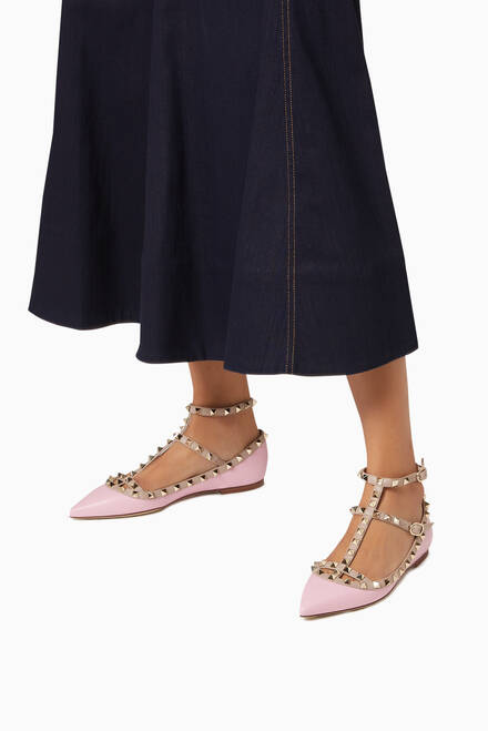 hover state of Valentino Garavani Rockstud Caged Ballet Flats in Leather