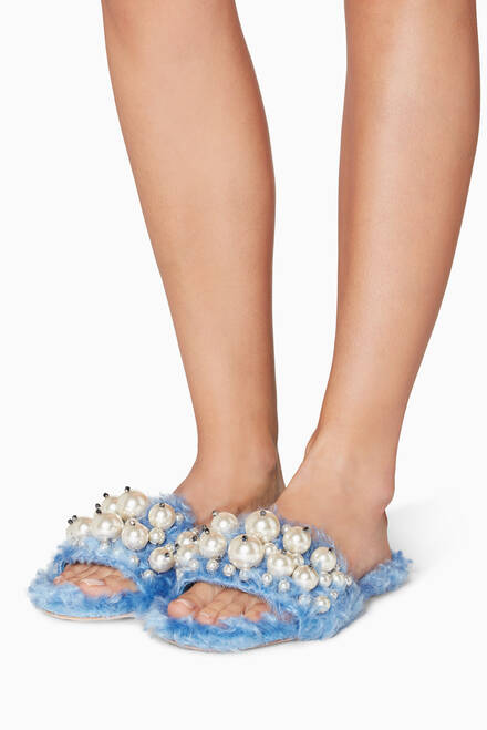 hover state of Light-Blue Eco Shearling Sandals