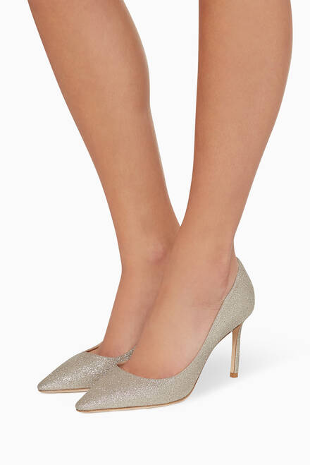 hover state of Romy 85 Dusty Glitter Pumps