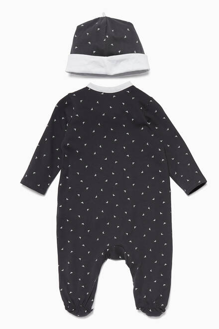 hover state of Navy Boys Romper & Hat Newborn Gift, Set Of 2
