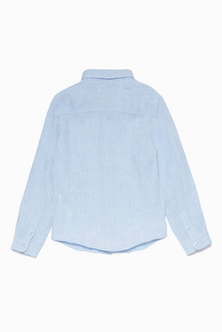 hover state of Light-Blue Embroidered Logo Linen Shirt