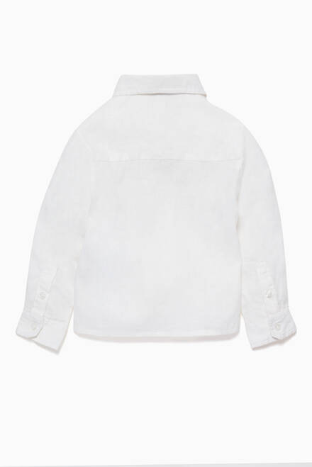 hover state of White Linen Long-Sleeve Shirt