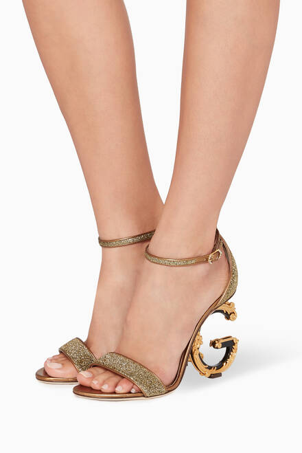 hover state of Gold D&G Heel Keira Sandals