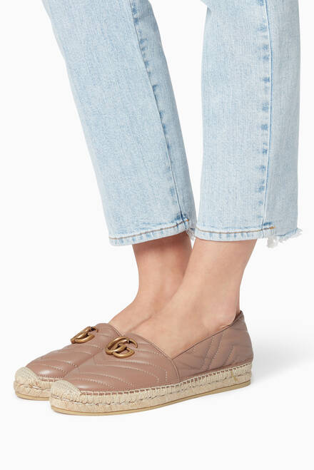 hover state of Beige Matelassé Leather Espadrilles