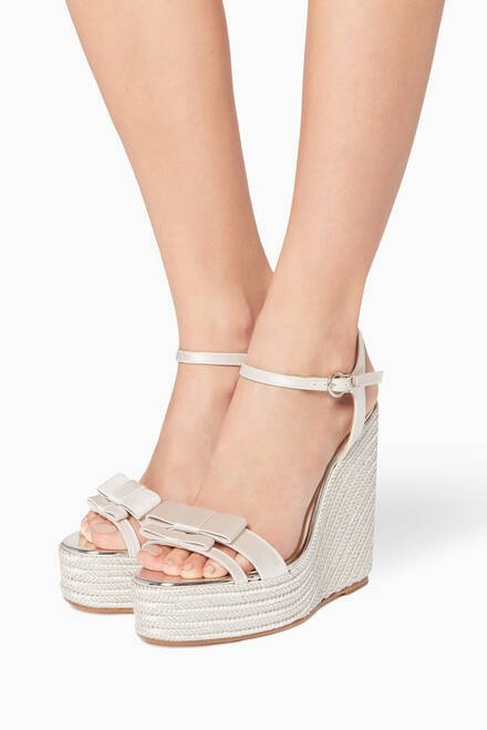 hover state of Ivory Andie Bow Satin Espadrille Wedges