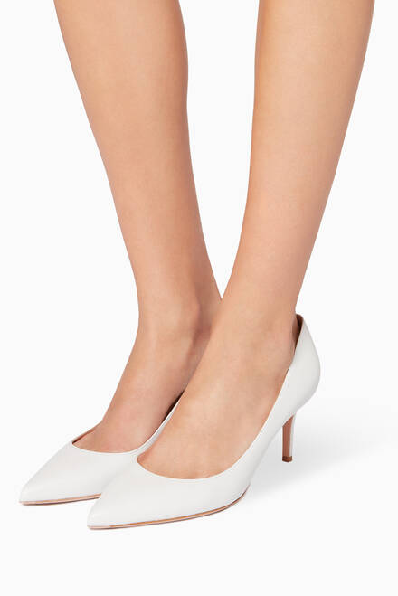 hover state of White Nappa Point-Toe Pumps