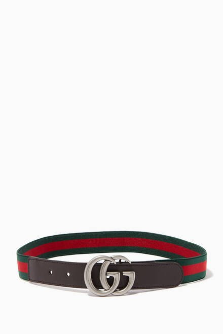 hover state of Brown Striped 'GG' Logo Belt