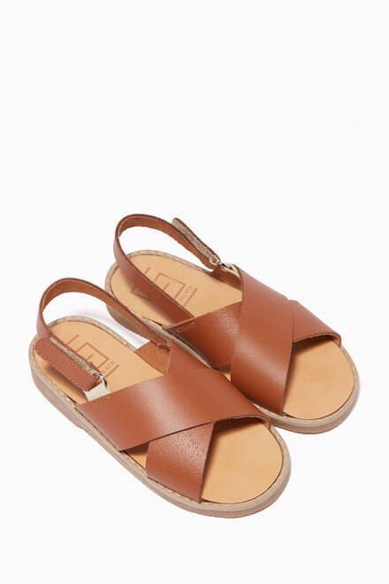hover state of Leather Crossover Sandals