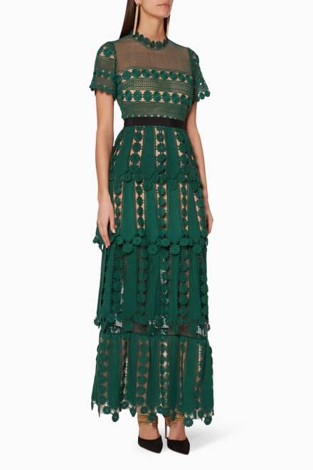 5b7a19fe181 Shop Self-Portrait Multicolour Leaf Lace Camellia Dress for Women ...