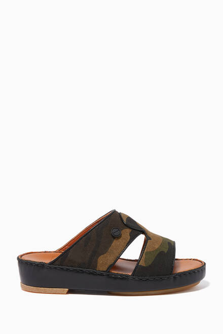 hover state of Camouflage-Print Leather Sandals