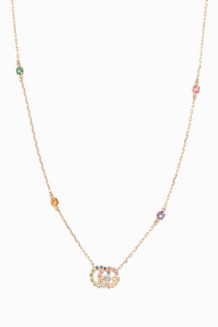 hover state of Multi-Coloured Double G Stone Necklace