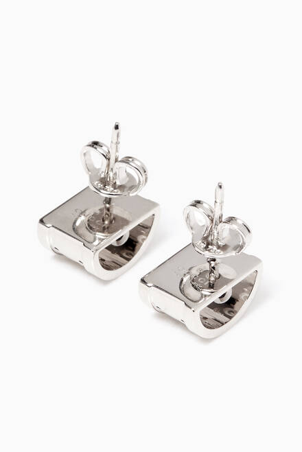 hover state of White-Gold Icon Twirl Earrings