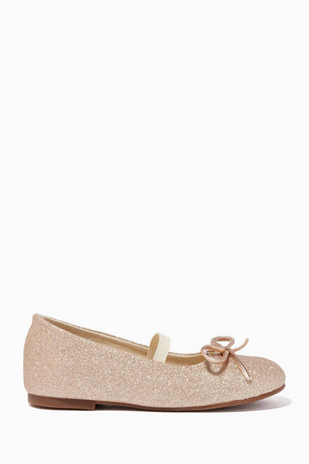 hover state of Bow Detail Glitter Ballerina Flats