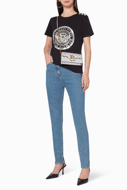 hover state of Medallion-Print Buttoned T-Shirt