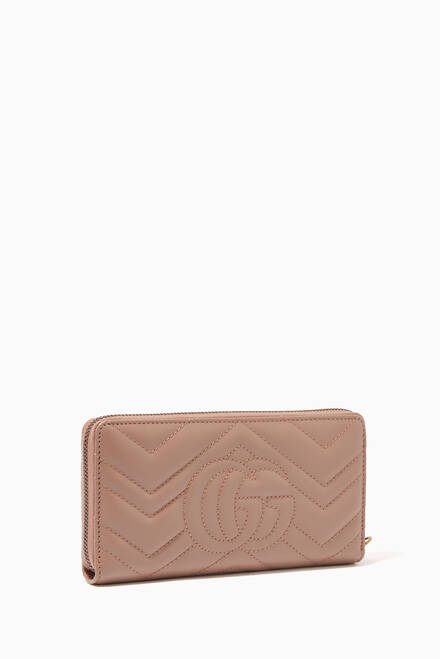 hover state of GG Marmont Zip-Around Wallet in Chevron Leather