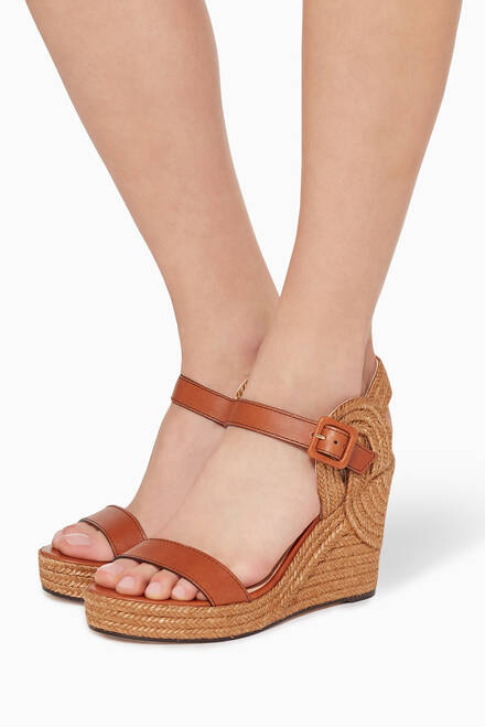 hover state of Delphi 100 Nappa Leather Wedge Sandals